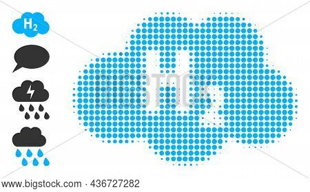 Dot Halftone Hydrogen Cloud Icon, And Additional Icons. Vector Halftone Mosaic Of Hydrogen Cloud Ico