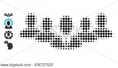 Dot Halftone Team Boss Icon, And Original Icons. Vector Halftone Collage Of Team Boss Icon Made Of R