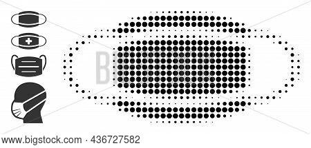 Dot Halftone Coronavirus Mask Icon, And Original Icons. Vector Halftone Composition Of Coronavirus M