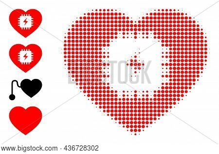 Pixelated Halftone Heart Pacemaker Icon, And Original Icons. Vector Halftone Composition Of Heart Pa