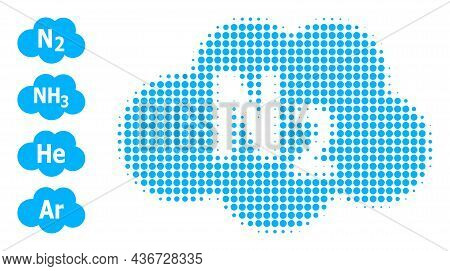 Dotted Halftone Nitrogen Cloud Icon, And Additional Icons. Vector Halftone Mosaic Of Nitrogen Cloud