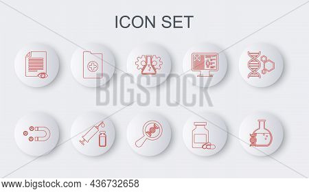 Set Line Dna Research, Search, Customer Attracting, Bioengineering, Medicine Bottle And Pills, Paper