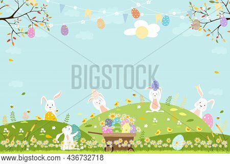 Spring Field With Bunny Hunting Easter Eggs,vector Cute Cartoon Rabbits And Hunny Bees Flying In Gra