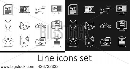 Set Line Clinical Record Pet, On Monitor, Dog Pooping, Veterinary Clinic, And Bone, Medical Certific