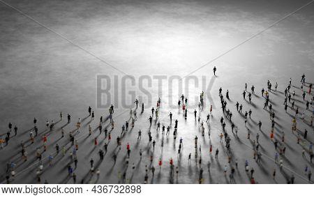 People follow a leader. Community of followers. 3D illustration