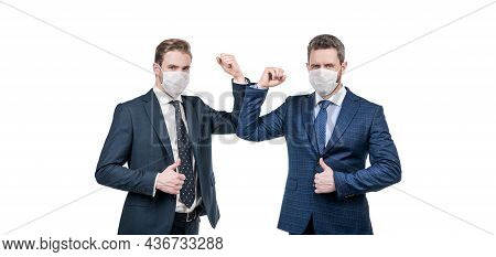 Businessmen In Protective Mask Bumping Elbows To Avoid Contact While Covid19 Pandemic, Prevention.