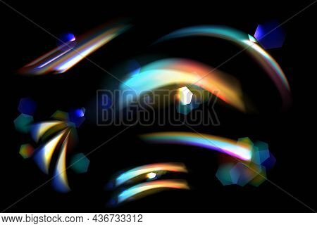 Crystal Rainbow Light Effects On Black Background. Light Streak Overlay Pattern Design Templates For