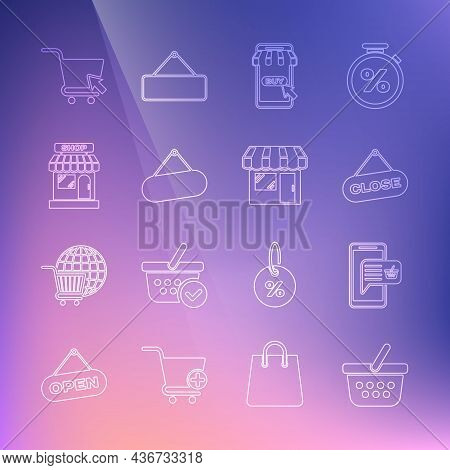 Set Line Shopping Basket, Mobile And Shopping, Hanging Sign With Close, Cart, Signboard Hanging, Mar