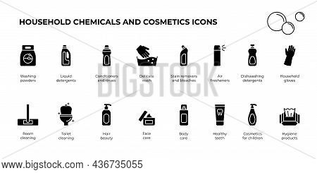 Household Chemicals And Cosmetics Icon Set For Online Store Website. Various Preparations Signs For