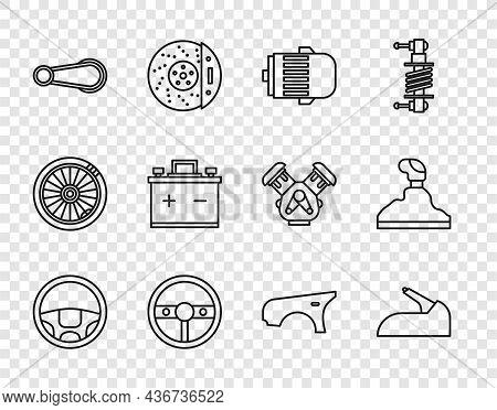 Set Line Steering Wheel, Car Handbrake, Electric Engine, Door Handle, Battery, Fender And Gear Shift
