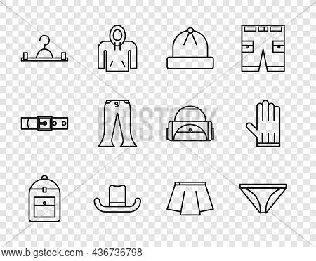 Set Line Backpack, Men Underpants, Winter Hat, Man, Hanger Wardrobe, Pants, Skirt And Leather Glove