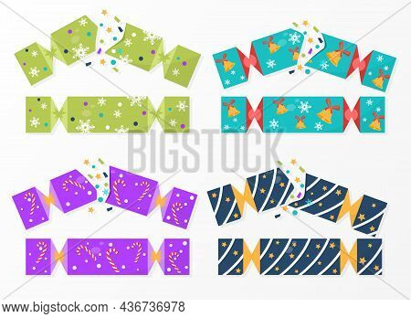 Set Of Colorful Christmas Cracker Wrappings On White Background. Collection Of Cute Cracker Template