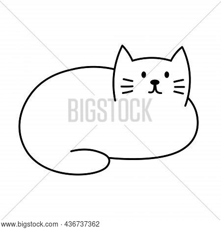 Cute Cat. Adorable Kitty Hand Drawn. Vector Illustration In Doodle Style Isolated On White Backgroun