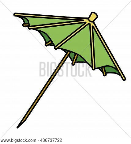 Green Cocktail Umbrella Bar Decoration Accessory. Hand-drawn Doodle Cartoon Style Image. For Bar Men