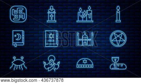 Set Line First Communion Symbols, Pentagram In A Circle, Burning Candles, Jewish Torah Book, Holy Of