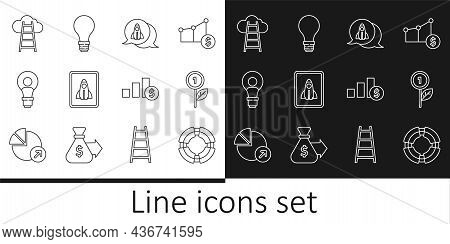 Set Line Business Lifebuoy, Dollar Plant, Startup Project Concept, Head With Lamp Bulb, Stair Finish