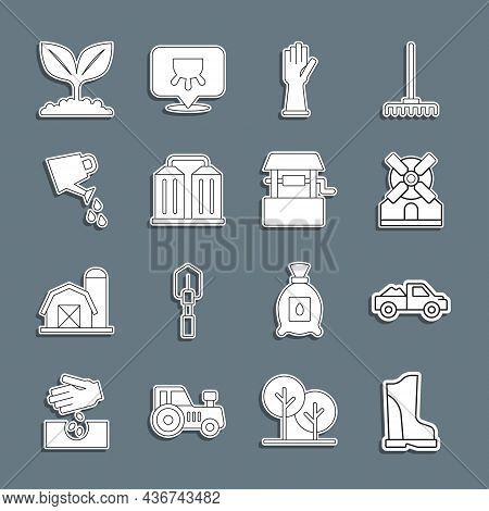 Set Line Waterproof Rubber Boot, Pickup Truck, Windmill, Rubber Gloves, Granary, Watering Can, Plant
