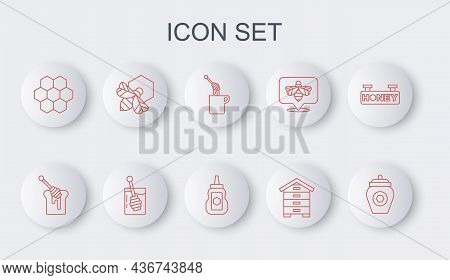 Set Line Jar Of Honey, Honey Dipper Stick With, Hive For Bees, Honeycomb, Bee And Honeycomb, And Ico