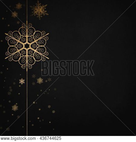 Elegant Black And Anthracite Winter Background With Golden Snowflakes. Christmas Card.