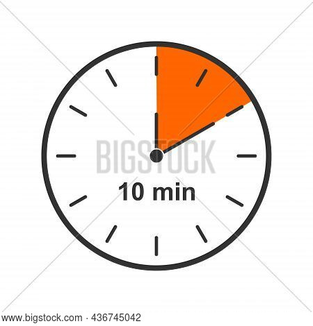 Clock Icon With 10 Minute Time Interval. Countdown Timer Or Stopwatch Symbol Isolated On White Backg