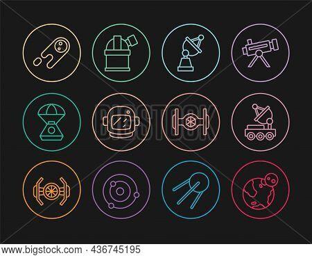 Set Line Earth Globe, Mars Rover, Satellite Dish, Astronaut Helmet, Space Capsule, Comet Falling Dow