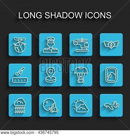 Set Line Cloud With Rain, Modern Pilot Helmet, Globe Flying Plane, Sun And Cloud Weather, Uav Drone,