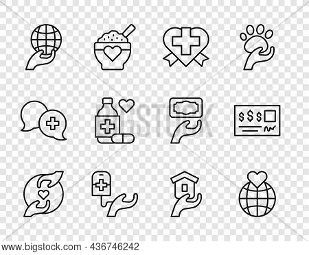 Set Line Pleasant Relationship, Hand Holding Earth Globe, Heart With Cross, Blood Donation, Medicine