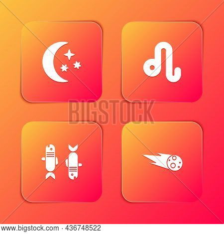 Set Moon And Stars, Leo Zodiac, Pisces And Comet Falling Down Fast Icon. Vector