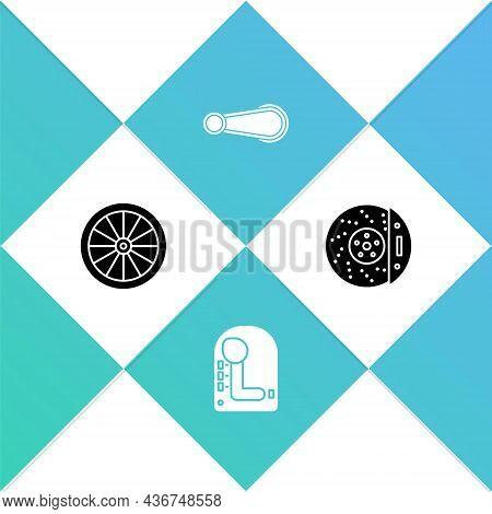 Set Car Wheel, Gear Shifter, Door Handle And Brake Disk With Caliper Icon. Vector