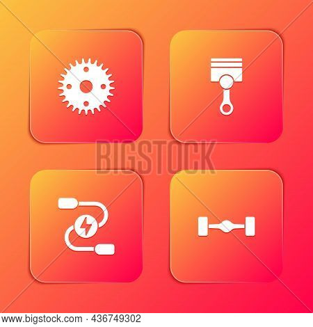 Set Gear, Engine Piston, Car Battery Jumper Power Cable And Chassis Car Icon. Vector