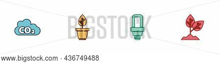 Set Co2 Emissions In Cloud, Plant Pot, Led Light Bulb And Icon. Vector