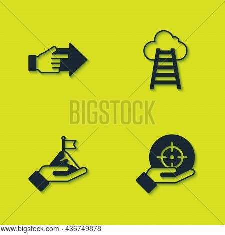 Set Hand With Pointing Finger, Target, Mountains Flag And Stair Finish Icon. Vector