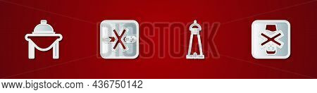 Set Table Food, No Smoking, Mosque Tower Or Minaret And Alcohol Icon. Vector