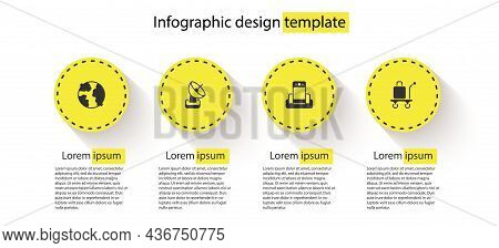 Set Worldwide, Radar, Metal Detector In Airport And Trolley Baggage. Business Infographic Template.