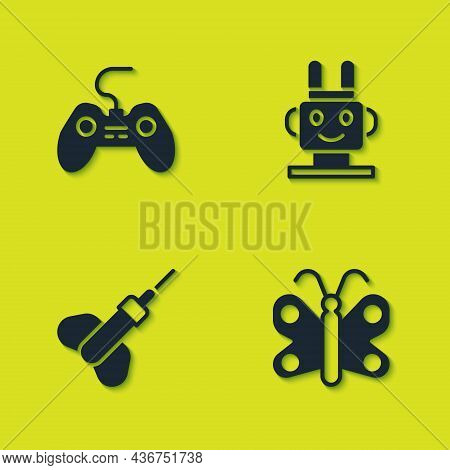 Set Gamepad, Butterfly, Dart Arrow And Robot Toy Icon. Vector