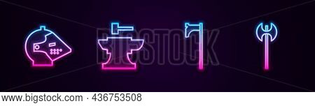 Set Line Medieval Iron Helmet, Anvil For Blacksmithing Hammer, Axe And . Glowing Neon Icon. Vector