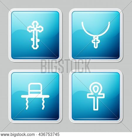 Set Line Christian Cross, On Chain, Orthodox Jewish Hat With Sidelocks And Cross Ankh Icon. Vector