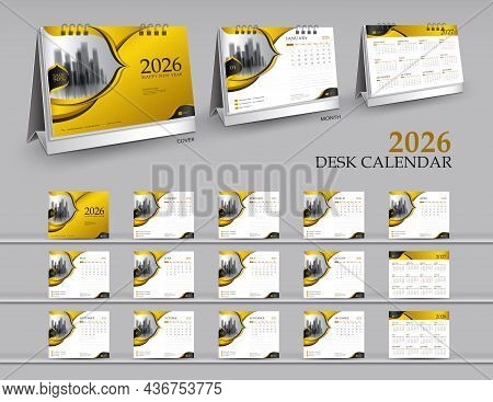 Calendar 2026 Template Set On Gold Background, Calendar 2027-2028 Year, 3d Mockup Desk Calendar 2026