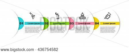 Set Line Vintage Pistols, Statue Of Liberty, White House And Trumpet. Business Infographic Template.