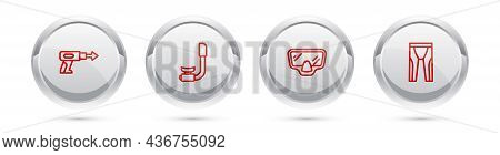 Set Line Fishing Harpoon, Snorkel, Diving Mask And Wetsuit For Scuba Diving. Silver Circle Button. V