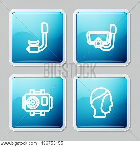 Set Line Snorkel, Diving Mask With Snorkel, Photo Camera For Diver And Hood Icon. Vector