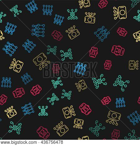 Set Line Neural Network, And Chat Bot On Seamless Pattern. Vector