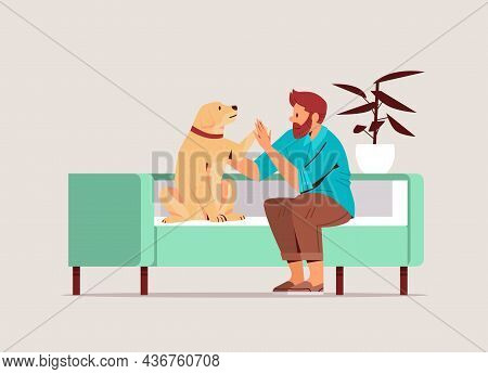 Young Man Spending Time With Dog Male Owner And Cute Domestic Animal Friendship With Pet Concept