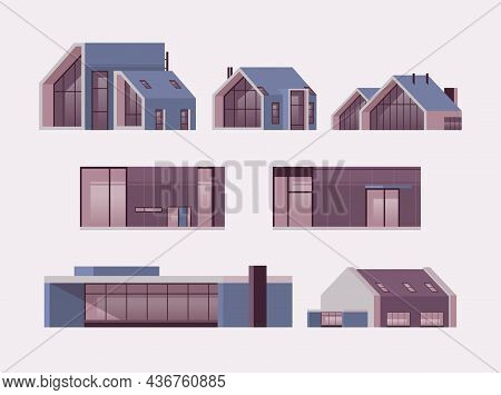 Set Modern Houses Of Sandwich Panels Contemporary Environmentally Friendly Home Buildings Collection
