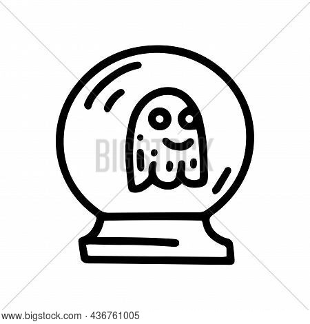 Crystal Ball With Spirit Line Vector Doodle Simple Icon