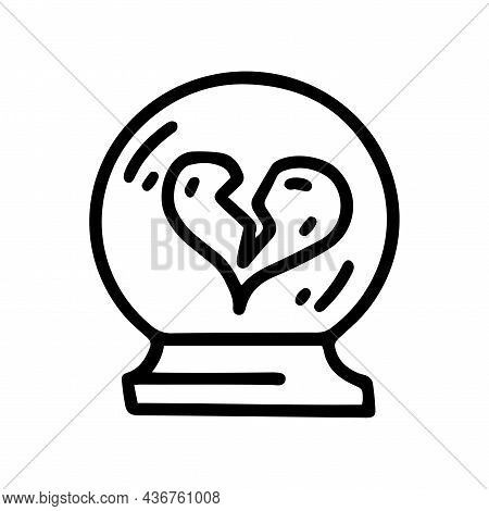 Crystal Ball With Broken Heart Line Vector Doodle Simple Icon