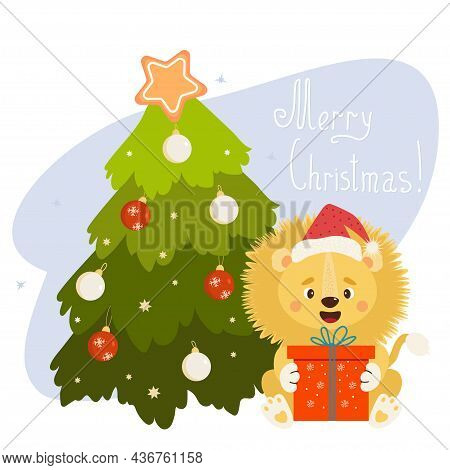 Cute Lion In Santa Hat With Big Gift Box And Christmas Tree With Christmas Balls. Vector Illustratio