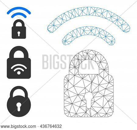 Web Carcass Wi-fi Lock Vector Icon, And Other Icons. Flat 2d Carcass Created From Wi-fi Lock Pictogr