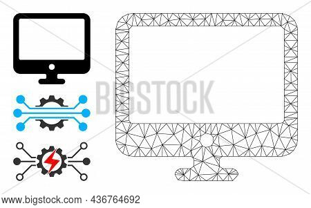 Web Carcass Computer Display Vector Icon, And Source Icons. Flat 2d Model Created From Computer Disp