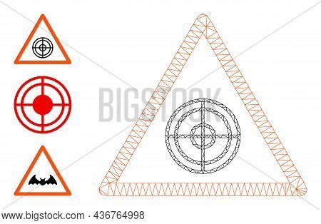 Web Carcass Target Warning Vector Icon, And Source Icons. Flat 2d Carcass Created From Target Warnin